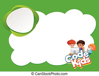 Background design template with three kids on computer