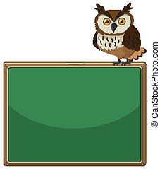 Background design template with wild owl on board
