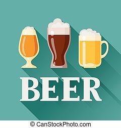 Background design with beer glass, mug and goblet