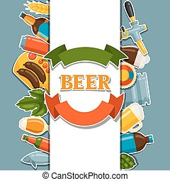 Background design with beer stickers and objects.