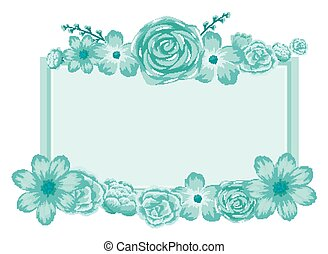 Background design with blue flowers