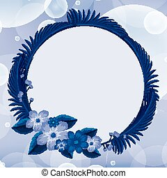 Background design with blue flowers in round frame
