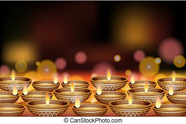 Background design with bowls of candles