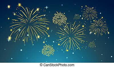 Background design with fireworks in sky