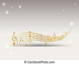 Background design with golden musical notes