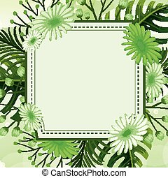 Background design with green leaves and flowers frame