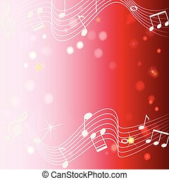 Background design with musicnotes on red