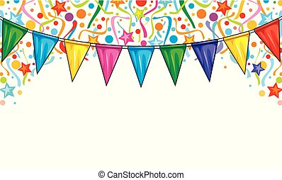 background design with party streamers, confetti and party flags (festive design, celebration background)