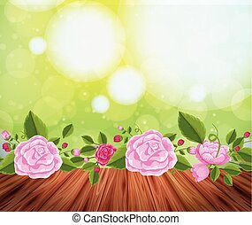 Background design with pink roses