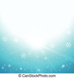 Background design with snowflakes in sky