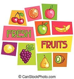 Background design with stylized fresh ripe fruits.