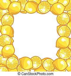 Background design with stylized fresh ripe lemons.