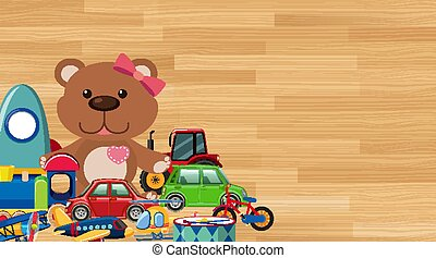 Background design with toys on wooden wall