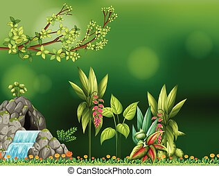 Background design with waterfall and cave