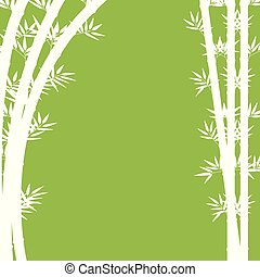 Background design with white bamboo on green