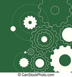 Background design with white gears on green