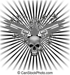 background eagle with a skull and guns