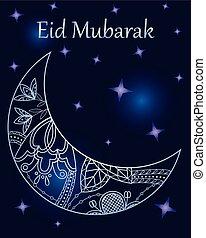 Background eid mubarak with crescent