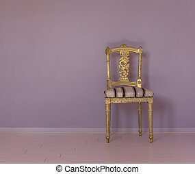 background empty posh golden antique chair in a empty room with purple wall and pink floor