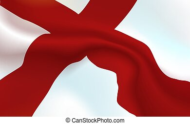 Background England Flag in folds. English banner. Pennant with stripes concept up close, standard United Kingdom of great Britain and Northern Ireland. Realistic soft shadows. Vector Illustration