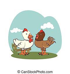 background farm with chicken animals