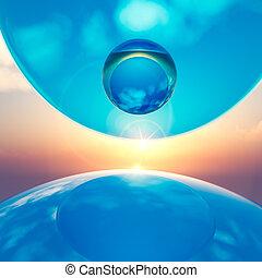 background floating crystal balls