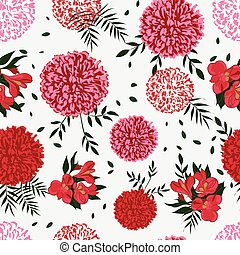 background floral pattern with dahlias