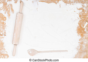 background flour with rolling pin