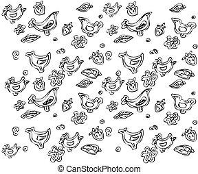 Background flowers of a birdie