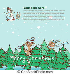 Background for a Christmas theme with snowman and cats with spac