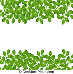 background for a design with green branches, vector illustration
