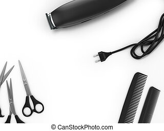 background for beauty clippers scissors and combs are laid around the place for text