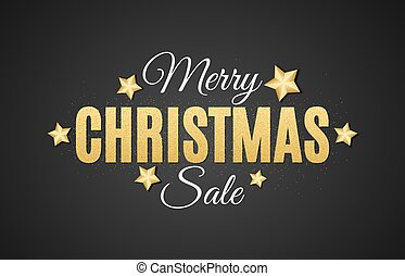 Background for Christmas sale. The text is from gold glitters on a black background. Big sale. Golden stars. Vector