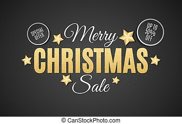 Background for Christmas sale. The text is from gold glitters on a black background. Big sale. Discount stickers. Golden stars. Vector