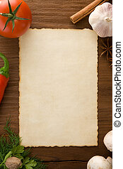 background for cooking recipes and spices on wooden table
