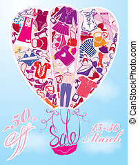 Background for fashion or retail Design - air balloon with Pattern of glamor clothes and accessories.