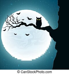 Background for Halloween. Black owl on the tree. Bats fly against the background of the full moon. Vector