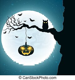 Background for Halloween. Black owl on the tree. Pumpkin with glowing yellow eyes. Bats fly against the background of the full moon. Vector