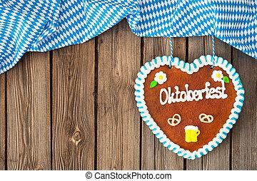Background for Oktoberfest - Gingerbread heart on wooden ...