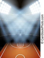 Background for posters night basketball stadium in the...