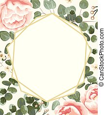 background for text from pink peonies, Jasmine, gray and green eucalyptus.invitation, postcard with eucalyptus. rustic style, Botanical style. burrow with greens and flowers. vector illustration