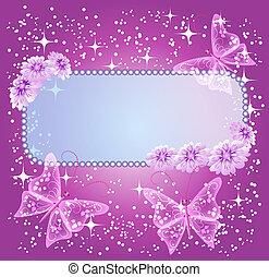 Background for text with flowers and butterfly