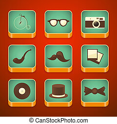 background for the app icons set, hipster items