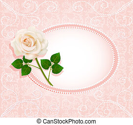 background for the invitation with pearls  and a rose
