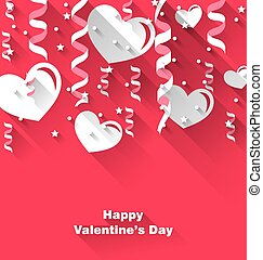 Background for Valentine's Day with paper hearts, streamer