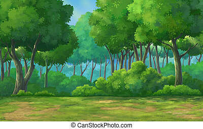Background forest daytime - Picture painted in deep forest