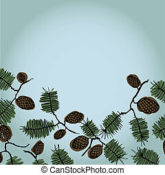 Background frame for text with fir cones and twig