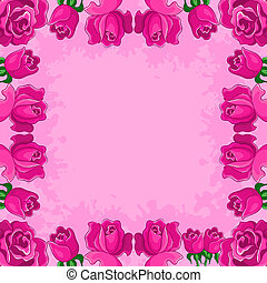 Vector floral background, frame from flowers red roses