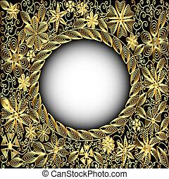 background frame gold(en) with floral pattern