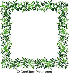 Background, frame of green leaves